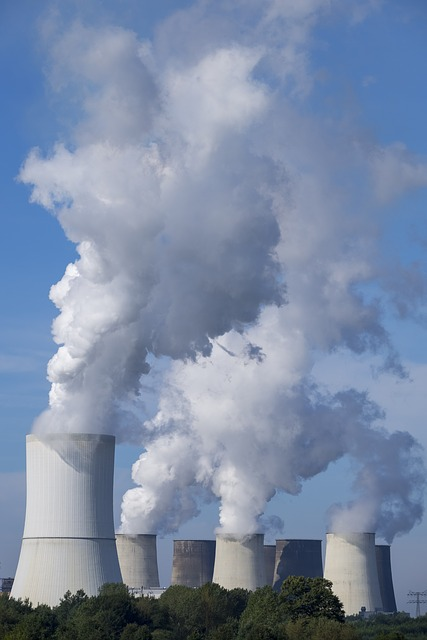 A power plant with multiple smokestacks