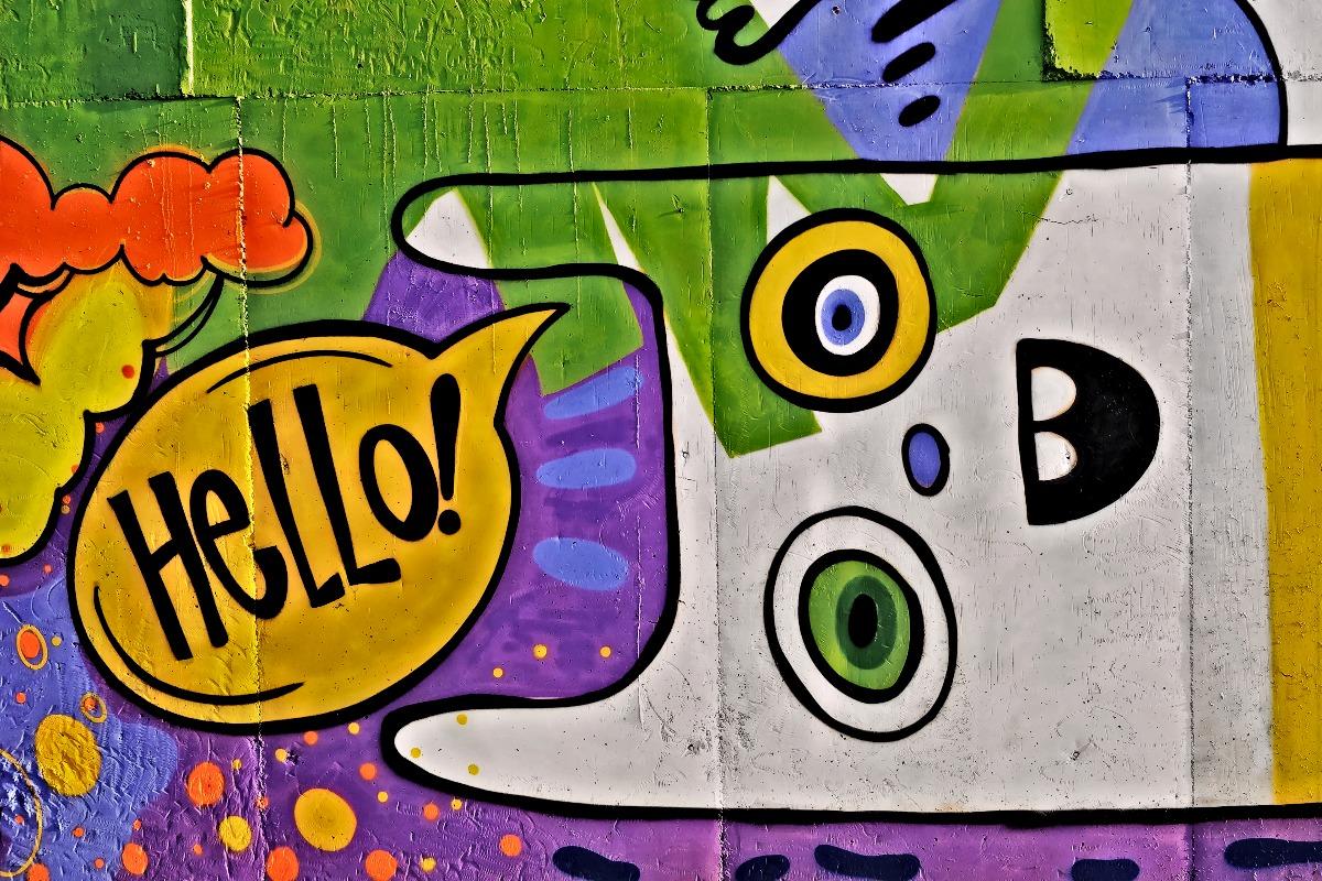"Wall graffiti cat say ""Hello!"""