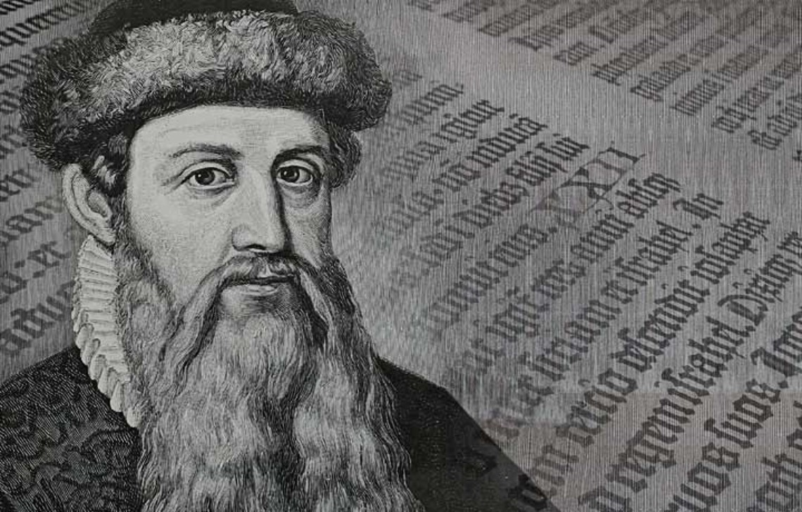 Johannes Gutenberg and page from Gutenberg Bible